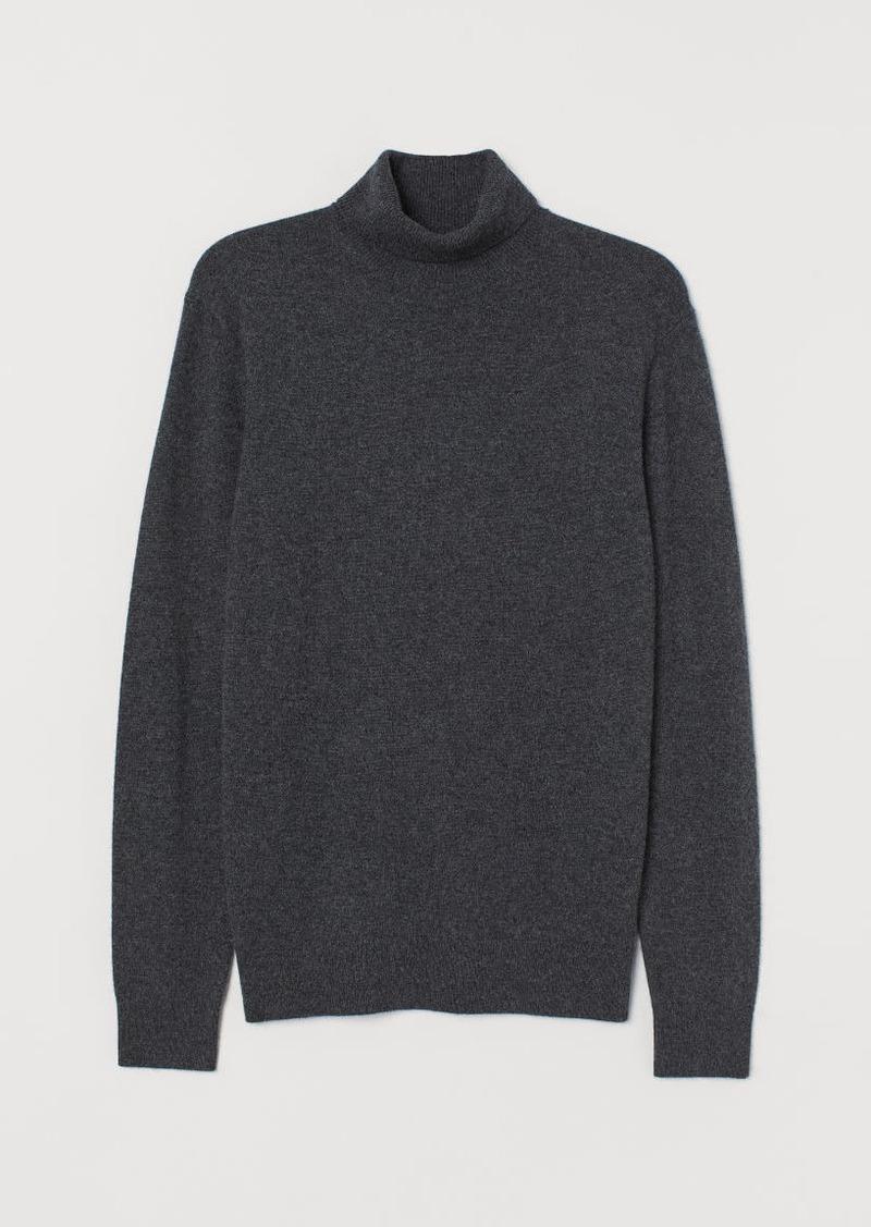 H&M H & M - Cashmere Turtleneck Sweater - Gray
