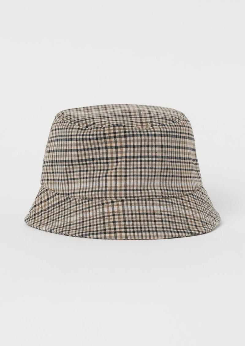H&M H & M - Checked Bucket Hat - Beige