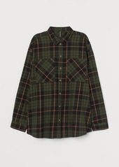 H&M H & M - Checked Cotton Shirt - Green