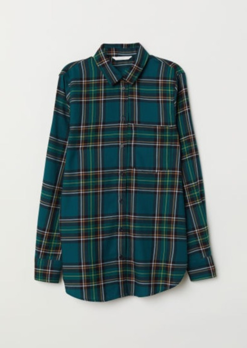 H&M H & M - Checked Shirt - Turquoise