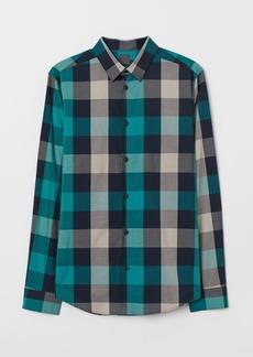 H&M H & M - Checked Shirt Slim fit - Blue