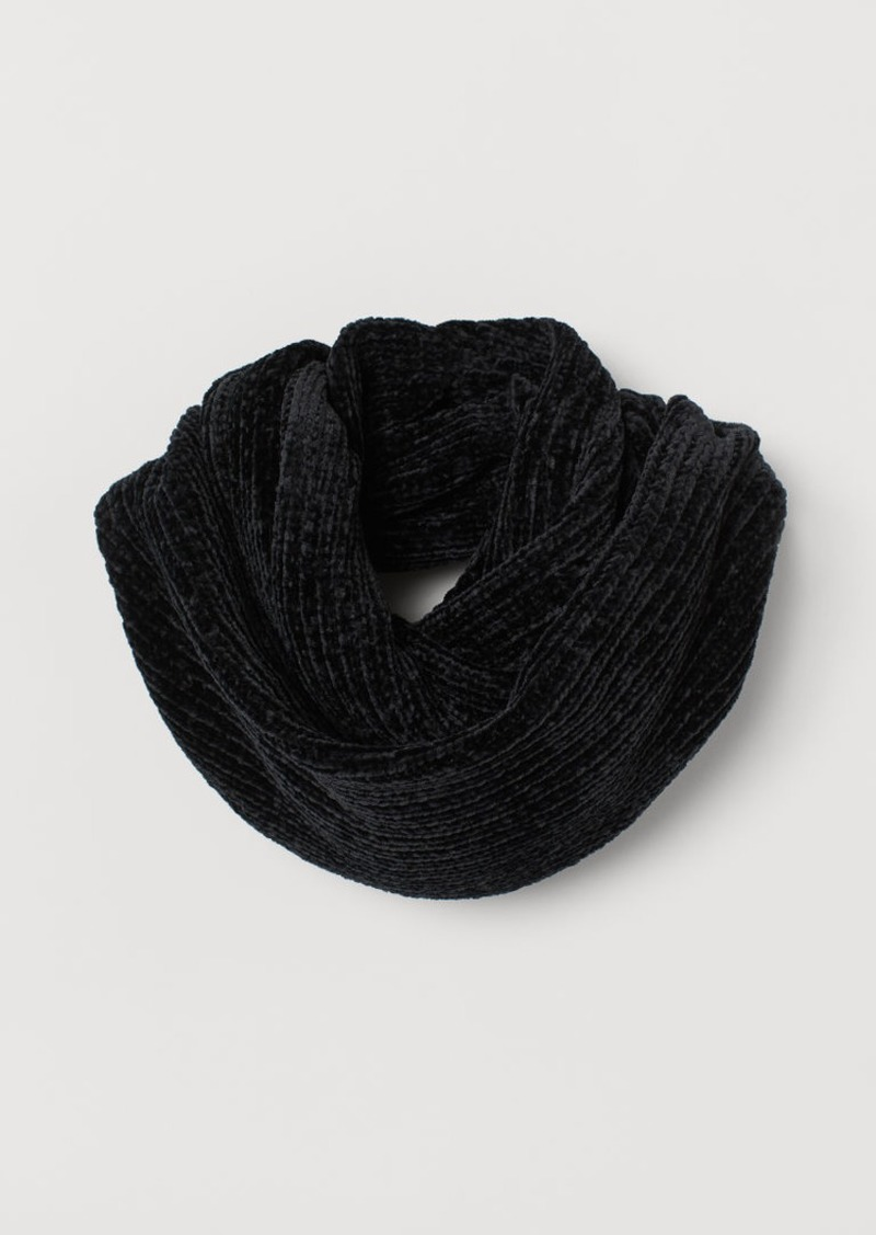 H&M H & M - Chenille Tube Scarf - Black