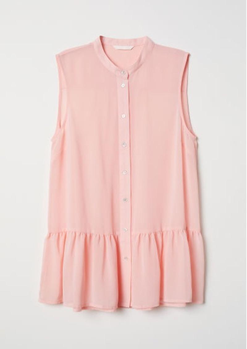 H&M H & M - Chiffon Blouse with Buttons - Orange