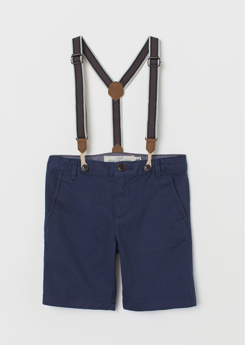 H&M H & M - Chino Shorts with Suspenders - Blue
