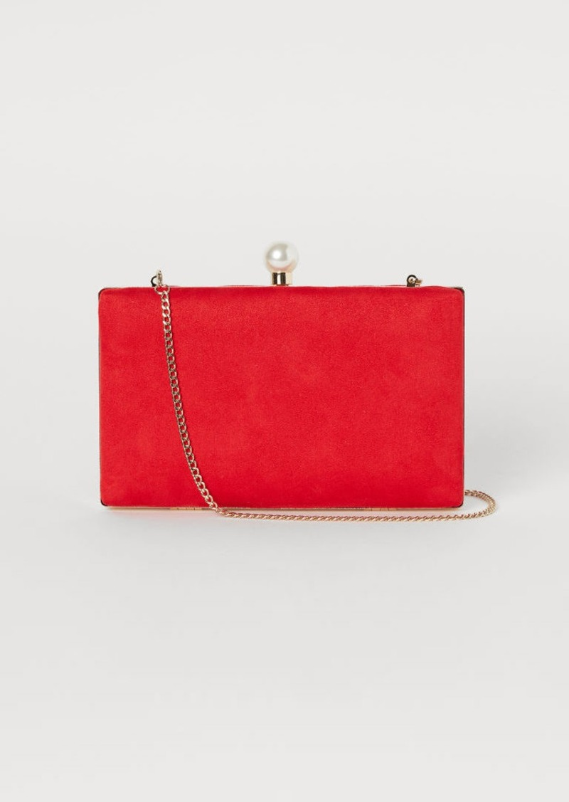 H&M H & M - Clutch Bag with Shoulder Strap - Red