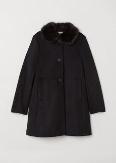 H&M H & M - Coat with Faux Fur Collar - Black