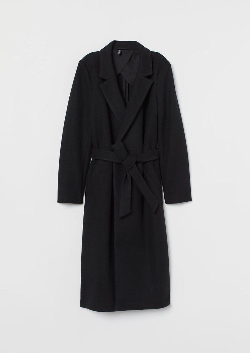 H&M H & M - Coat with Tie Belt - Black