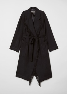 H&M H & M - Coat with Tie Belt - Black