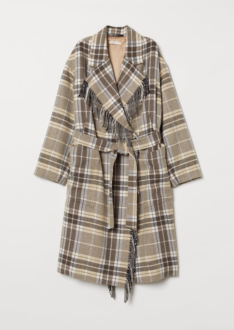 H&M H & M - Coat with Tie Belt - White
