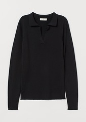 H&M H & M - Collared Ribbed Sweater - Black