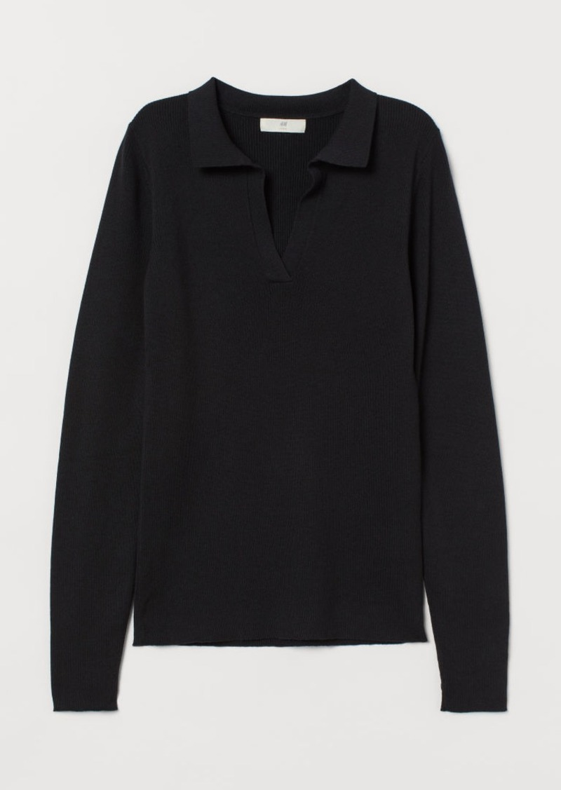 H & M - Collared Ribbed Sweater - Black