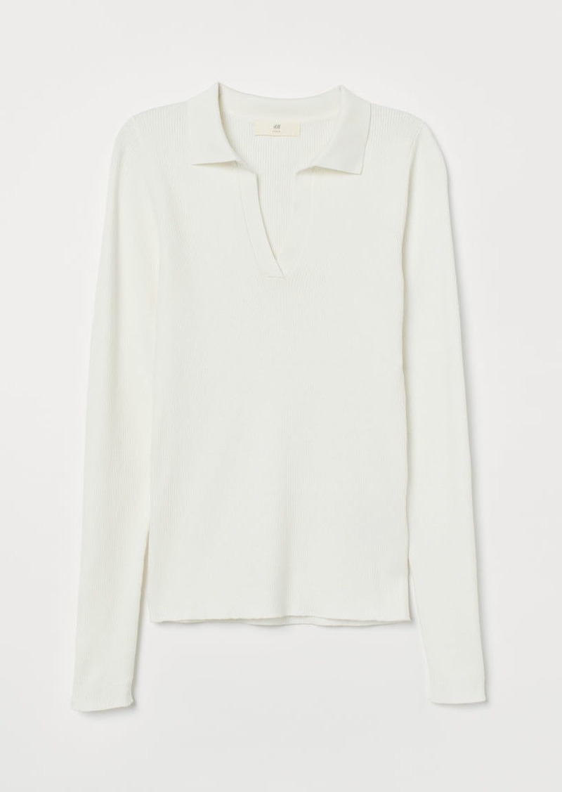H & M - Collared Ribbed Sweater - White