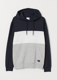 H&M H & M - Color-block Hooded Sweatshirt - Blue