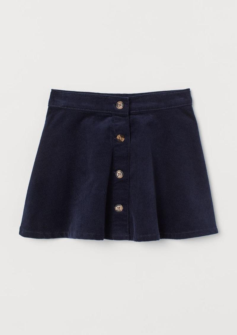 H&M H & M - Corduroy Skater Skirt - Blue