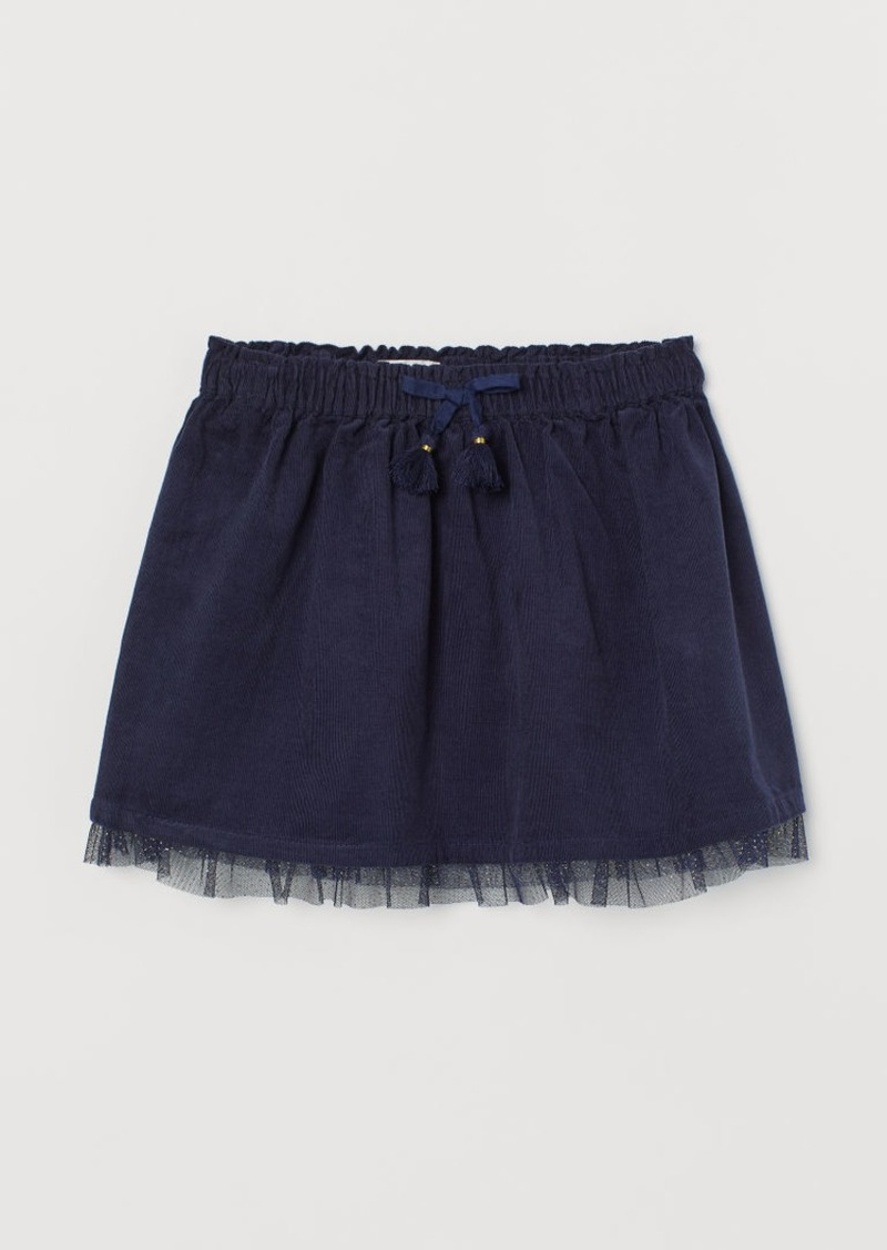 H&M H & M - Corduroy Skirt with Tulle - Blue