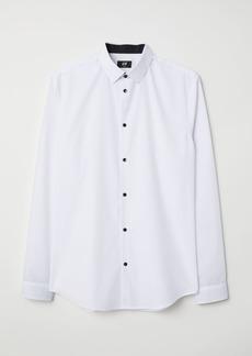 H&M H & M - Cotton-blend Shirt Slim fit - White