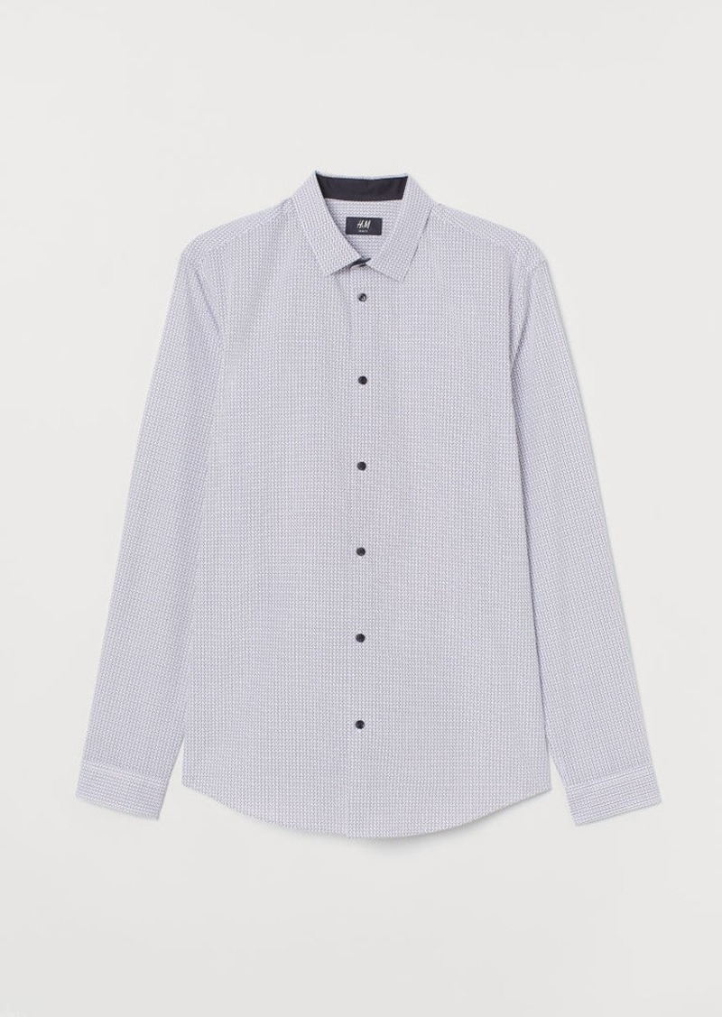 H&M H & M - Cotton-blend Shirt Slim fit - White