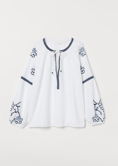 H&M H & M - Cotton Blouse with Embroidery - White
