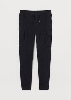H&M H & M - Cotton Cargo Joggers - Black
