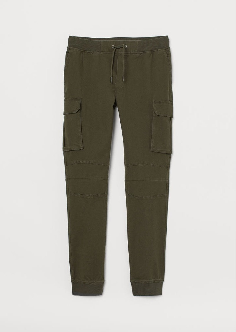 H&M H & M - Cotton Cargo Joggers - Green