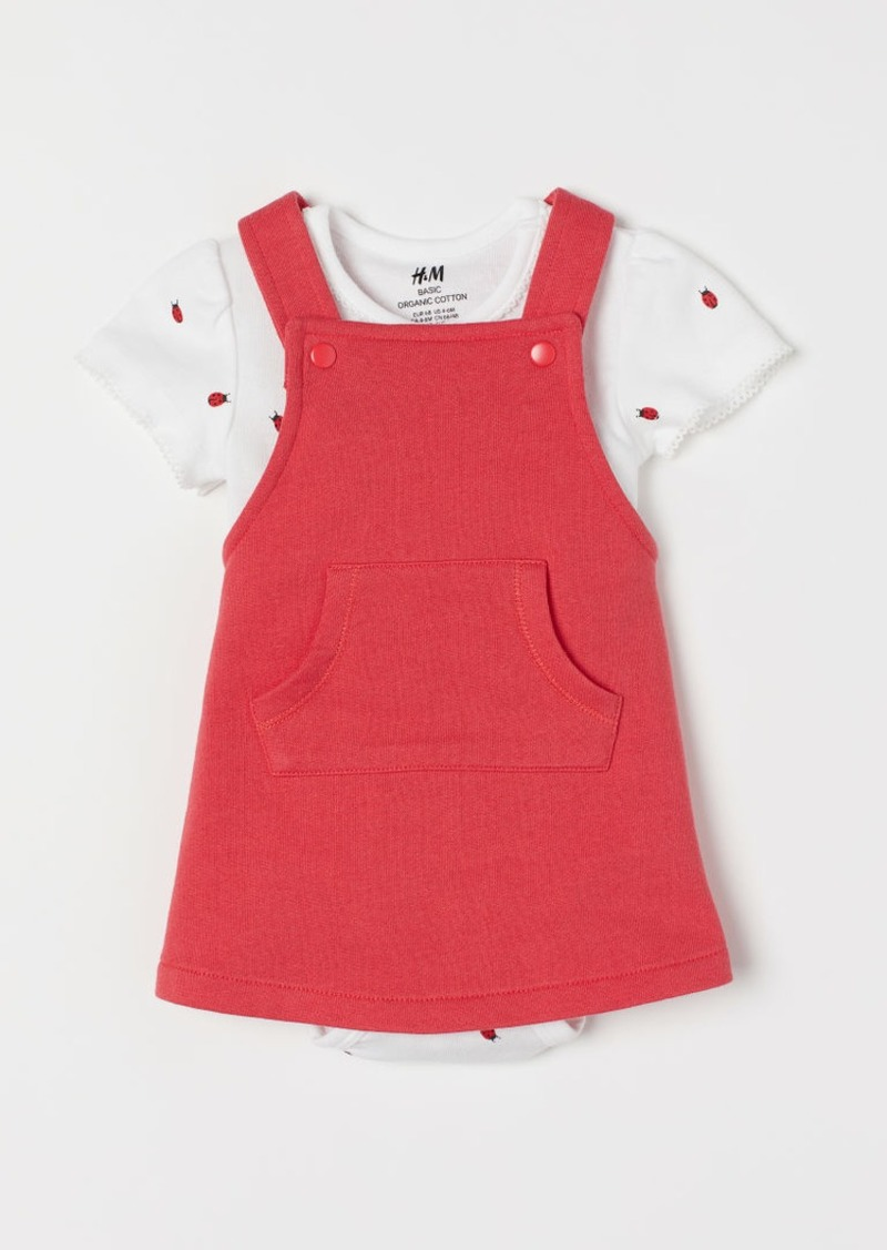H&M H & M - Cotton Dress and Bodysuit - Red