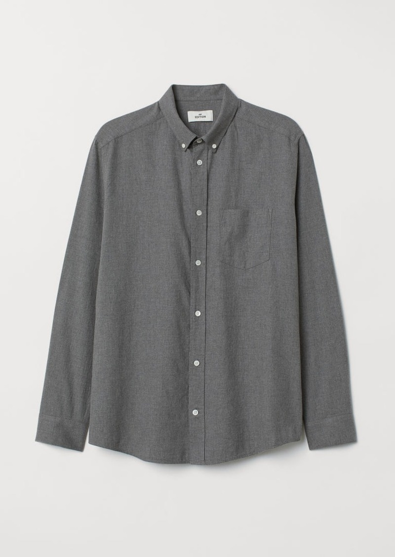 H&M H & M - Cotton Flannel Shirt - Gray