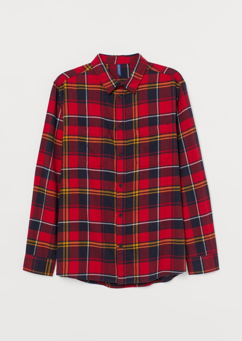 H&M H & M - Cotton Flannel Shirt - Red