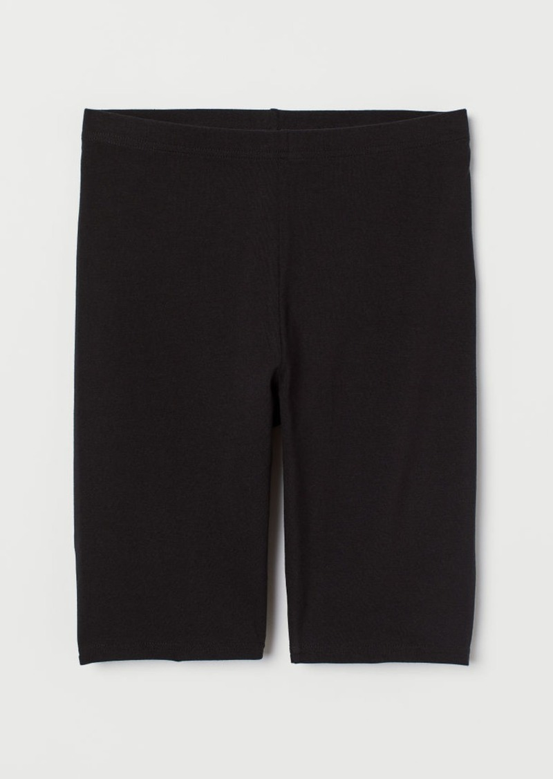 H&M H & M - Cotton Jersey Cycling Shorts - Black