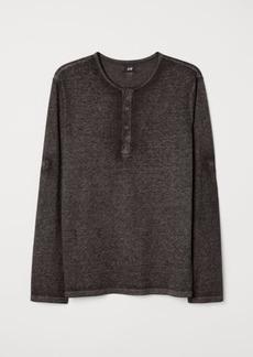 H&M H & M - Cotton Jersey Henley Shirt - Black