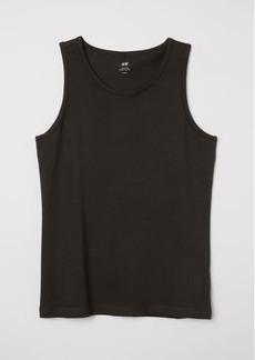 H&M H & M - Cotton Jersey Tank Top - Black