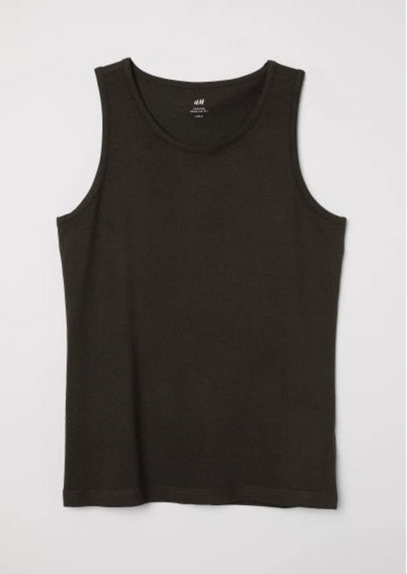 H&M H & M - Cotton Jersey Tank Top - Black