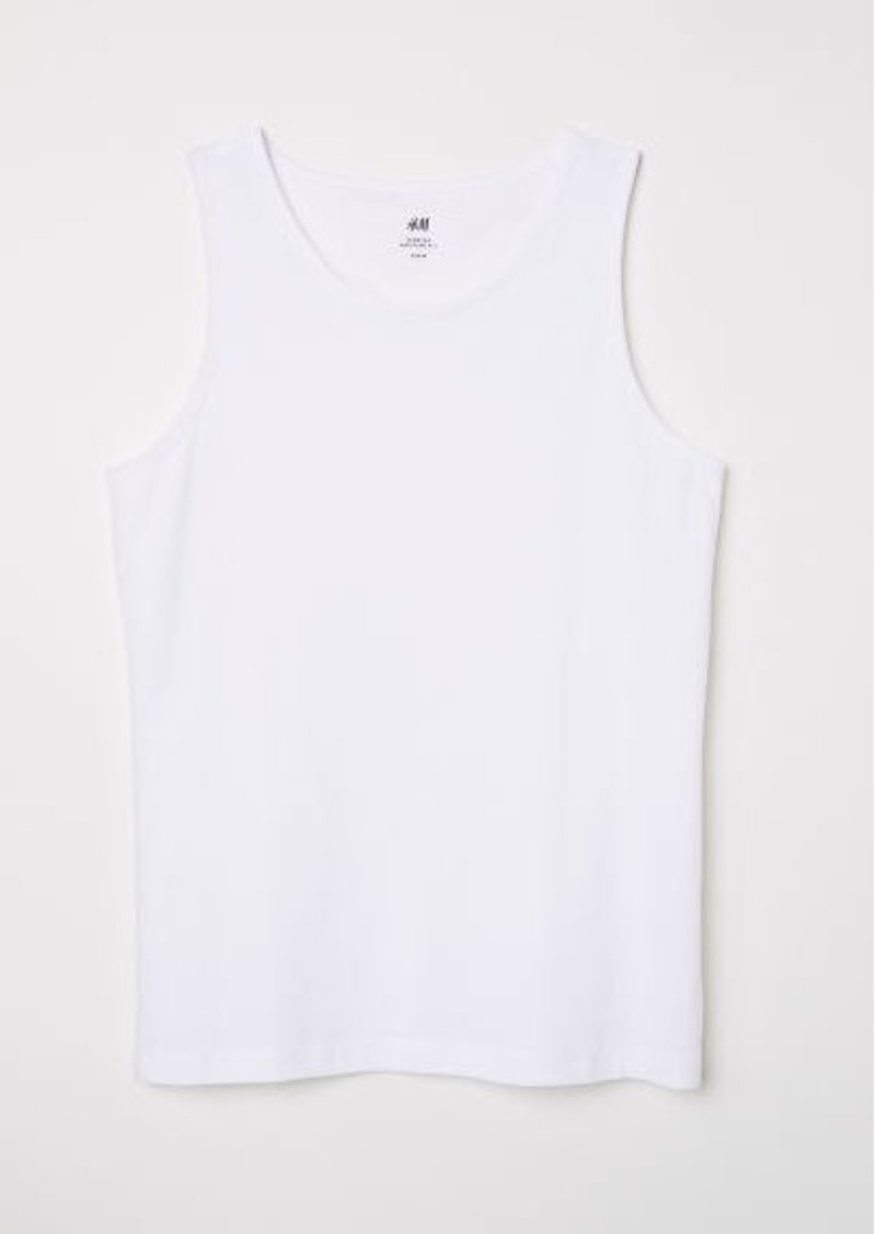 H&M H & M - Cotton Jersey Tank Top - White