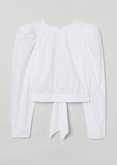 H&M H & M - Cotton Puff-sleeved Blouse - White