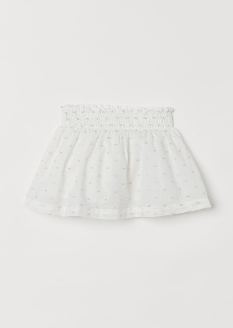 H&M H & M - Cotton Skirt with Smocking - White