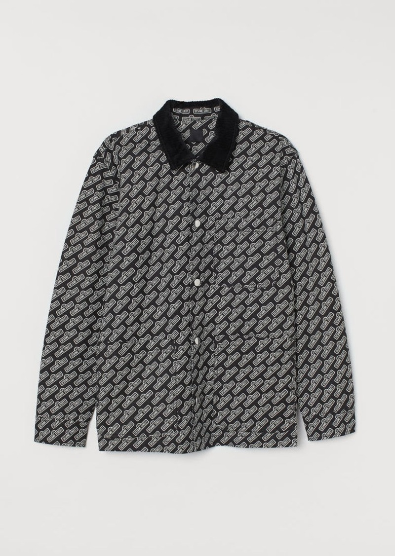 H&M H & M - Cotton Twill Shirt Jacket - Black