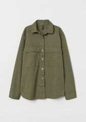 H&M H & M - Cotton Twill Shirt Jacket - Green