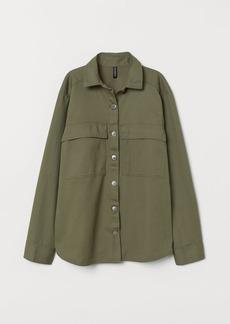 H&M H & M - Cotton Twill Shirt Jacket - Green