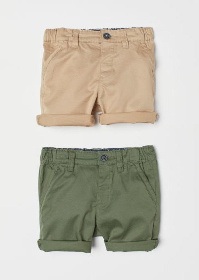 H&M H & M - 2-pack Cotton Twill Shorts - Beige