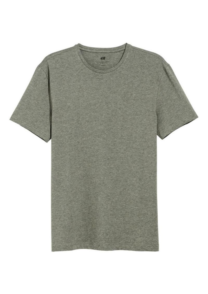 H&M H & M - Slim Fit Round-neck T-shirt - Green