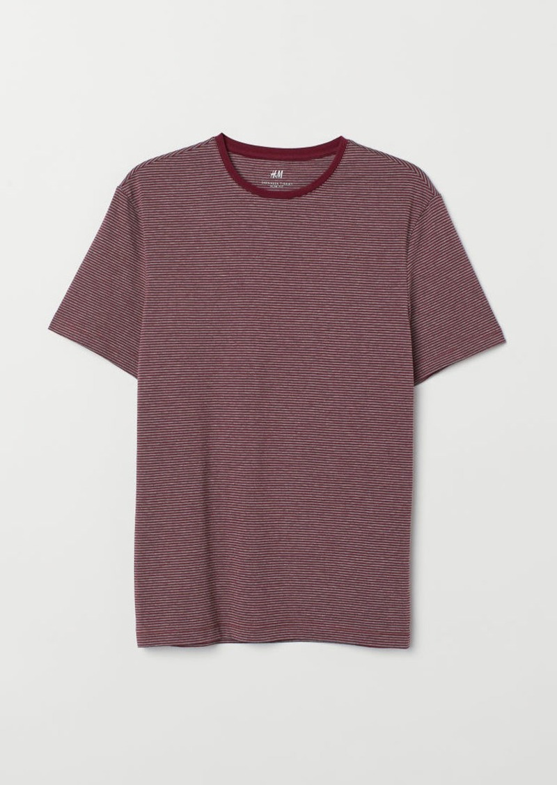 H&M H & M - Slim Fit Round-neck T-shirt - Red