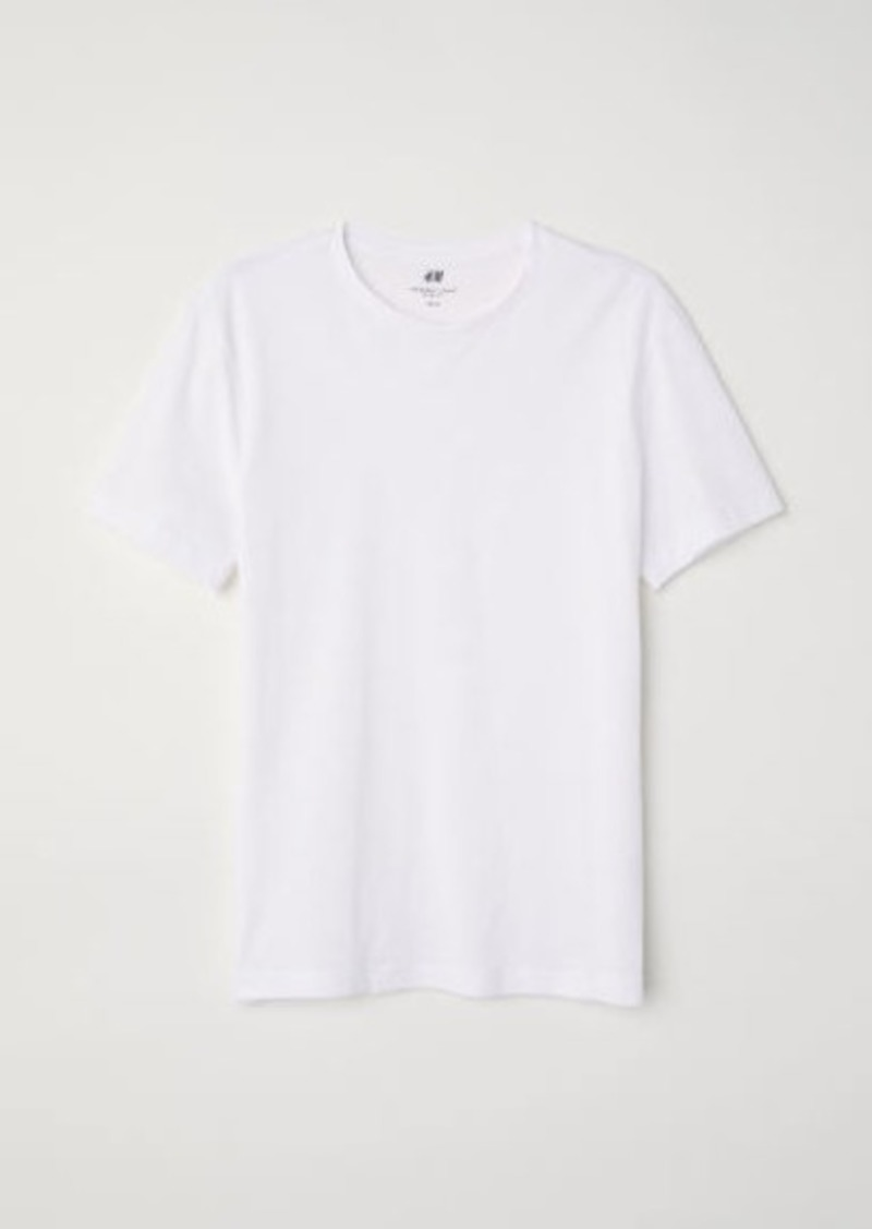 H&M H & M - Slim Fit Round-neck T-shirt - White