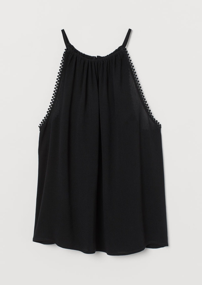 H&M H & M - Crinkled Camisole Top - Black