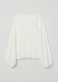 H&M H & M - Crinkled Jersey Blouse - White