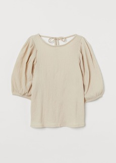 H&M H & M - Crinkled Puff-sleeved Blouse - Beige