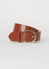 H&M H & M - Crocodile-patterned Waist Belt - Yellow