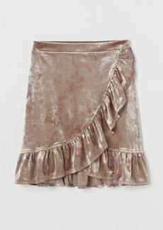 H&M H & M - Crushed-velvet Skirt - Brown