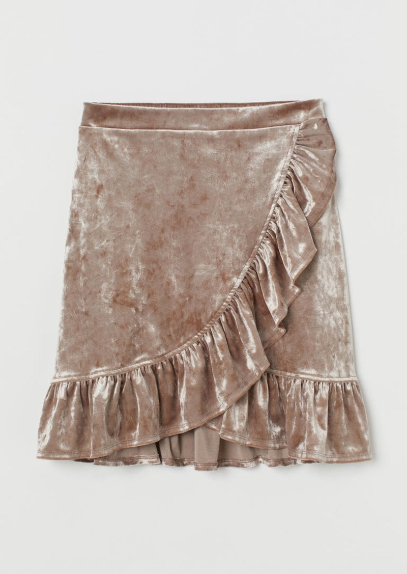 H&M H & M - Crushed-velvet Skirt - Brown