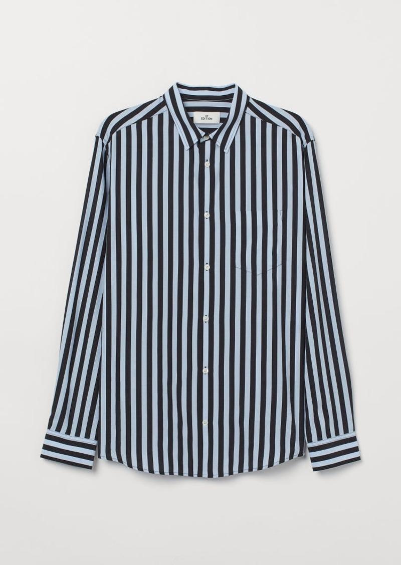 H&M H & M - Cupro-blend Shirt - Blue