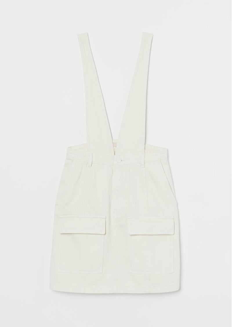 H&M H & M - Denim Overall Dress - White
