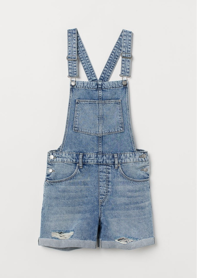 H&M H & M - Denim Overall Shorts - Blue